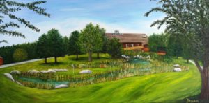DongDu, Fred Smithers, Granite Spring, clubhouse, golf, golfing, golf course, bayside, nova scotia, landscape painting, donna muller, oil painting