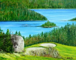 Granite Springs, golf course, rock, driving range, ocean, view, water, landscape painting, Donna Muller, Bayside, DongDu