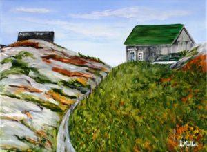 Green Roof, The Hags, Peggy's Cove, Nova Scotia, rock, path, plein air
