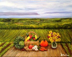 Harvest, flowers, vase, pumpkin, basket, cabbage, onions, vegetables, table, the Bay of Fundy, Nova Scotia, field