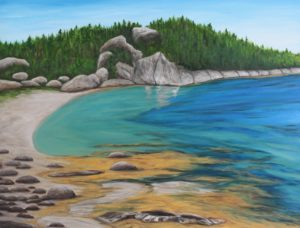 Hearn Island, Nova Scotia, beach, rock, ocean, seaweed, blue, painting, Donna Muller
