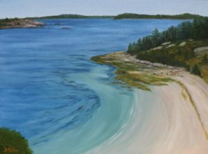 Hearn Island from the rock, beach, sand, rock, trees, water, ocean, Nova Scotia, landscape painting