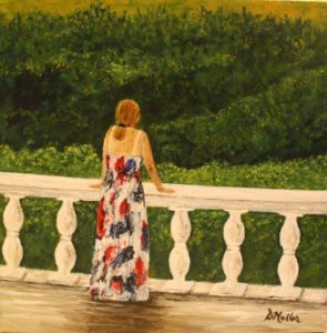 lady, railing, bush, greenary, landscape, Barbados, painting
