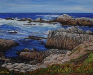 Monterey, California, rock, water, ocean, blue, landscape, painting