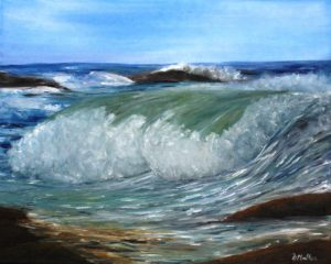 Movement, water, wave, ocean, rock, painting