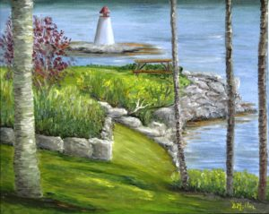 lighthouse, trees, Donna's Gallery, rocks, yard, picnic table, landscape, artist, Donna Muller, Bayside