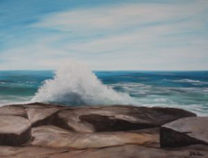 Wave, Atlantic Coast, ocean, rock, water, Nova Scotia, oil painting