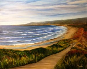 PEI, artist Donna Muller, oil painting, water, landscape, path, walkway, sand dunes, ocean