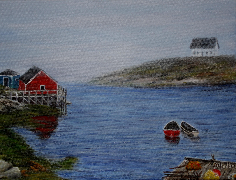 Fog, Peggy's Cove, boats, wharf, ocean