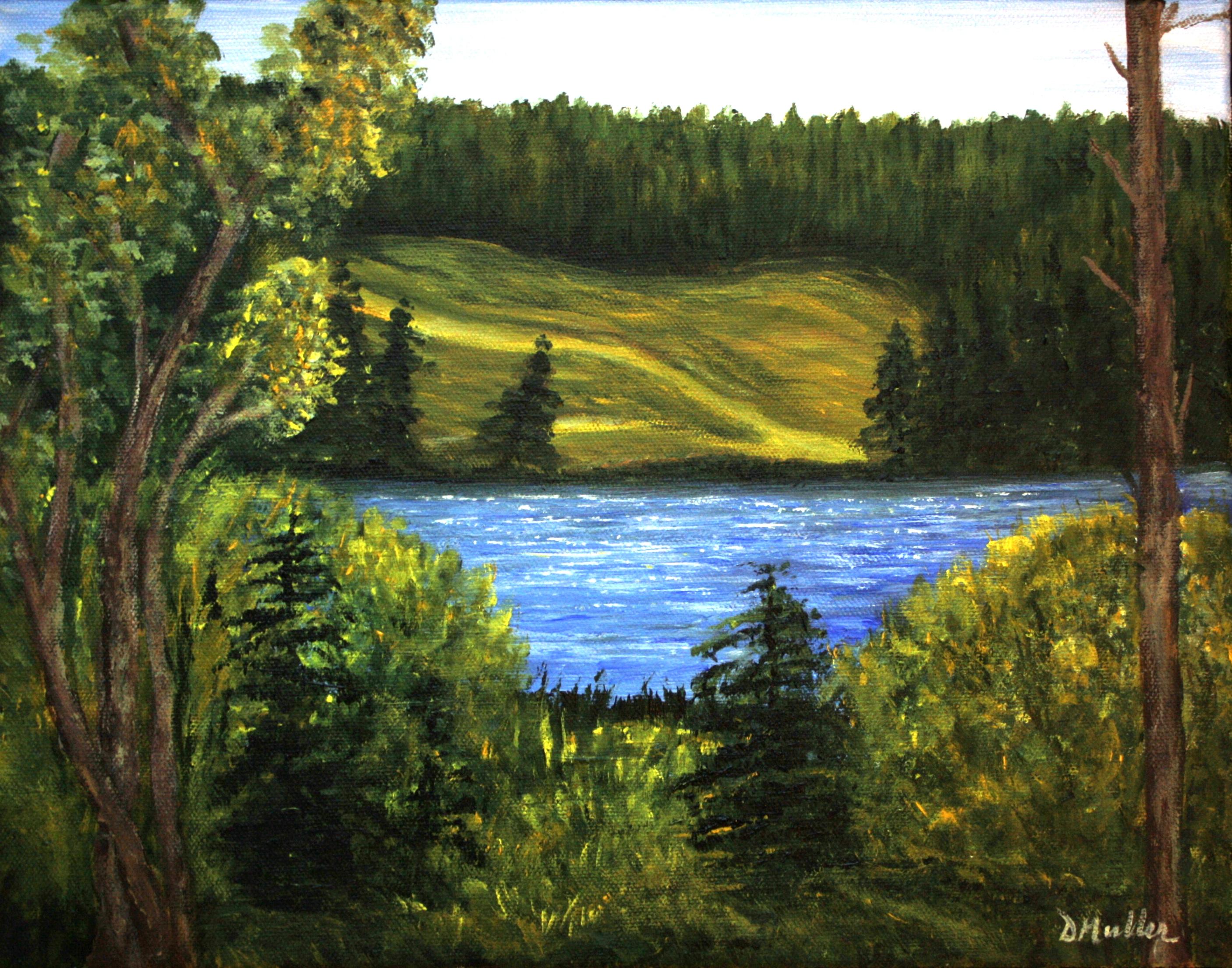 Golf, water, lake, bush, landscape