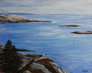 So Small,  Polly's Cove, rock, trees, walking trail, ocean, blue, painting, landscape