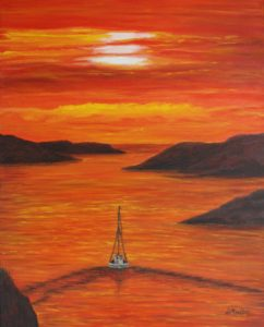 Sunset Sail, orange, painting, Peggy's Cove, boat, rock, sunset