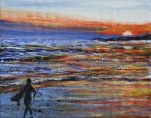 Surfing, Lawrencetown, Nova Scotia, sunset, water, ocean, small painting