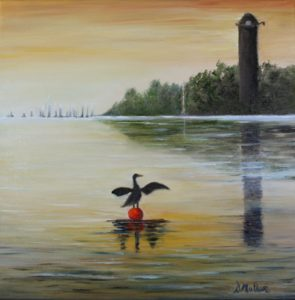 The Dingle, shag, Cormorant, buoy, Nova Scotia, ocean, sunsetting, water, landscape, painting