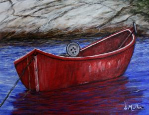 Red Boat, Peggy's Cove, water, rock, plein air, painting