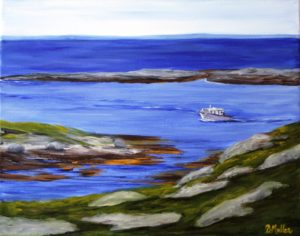Touring, Polly Cove, Polly's Cove, Peggy's Cove Tour boat, boat, ocean, rock, hiking trail, painting, Donna Muller