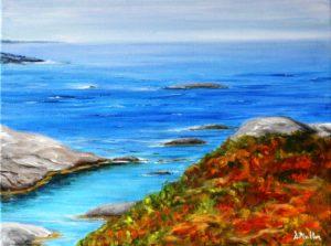 rock, peggy's cove, nova scotia, ocean, water, waves