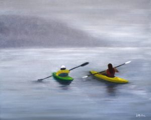 kayaking in the fog, kayaking, fog, water, ocean, blue, painting, Donna Muller