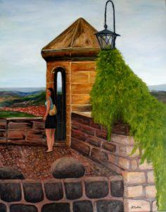 Germany, castle, bricks, turet, lamp, wall, rocks, farm land, painting