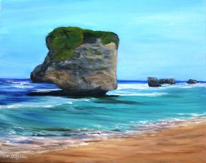 Barbados, east cost, beach, rock, ocean, water, oil painting, Donna Muller