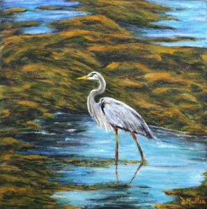 Blue heron, sea grass, water, wildlife, heron, nova scotia, painting