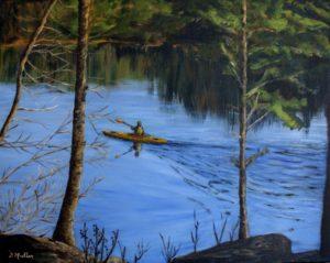 water, river, trees, kayak, landscape, painting, ocean, rocks, Shad Bay, nine mile river