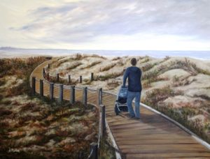 monterey, walkway, beach, stroller