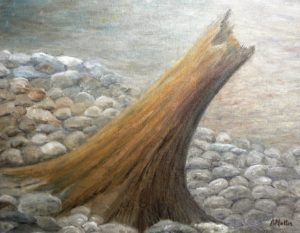 driftwood, tree trunk, rocks, beach, fog, water, landscape, painting, oil painting