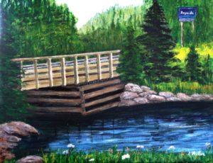 Bayside, Nova Scotia, bridge, water, ocean, sign, rocks,