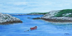 Red Boat, Peggy's Cove, Inlet, ocean