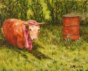 burning barrel, barrel, cow, trees,