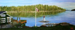 Donna's Gallery, Artist Donna Muller, Donna's Cottage Rental, Cottage, flag, lighthouse, landscape, ocean, water, trees, shad bay