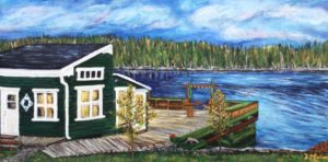 Donna's Cottage Rental, Donna's Gallery, wharf, Bay, water, trees, ocean, Artist Donna Muller