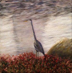 Blue heron, water, rose bush