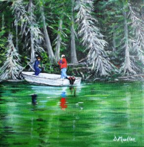 Fishing, boat, water, trees