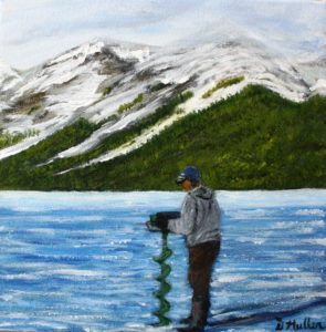Ice fishing, frozen, mountains, lake, drill, alberta