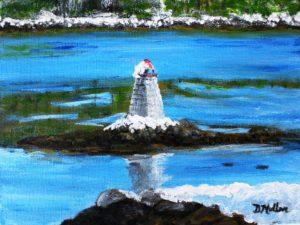 lighthouse, ocean, winter, snow, rock, shad bay
