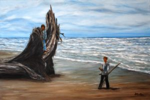 Driftwood, beach, ocean, landscape painting, oil painting