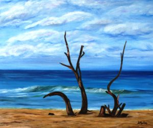 Driftwood, Barbados, beach, ocean, landscape, sky, blue, water, oil painting,