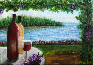 Wine, glass, wine glass, ocean, Bad Bay, table, vine, grapes