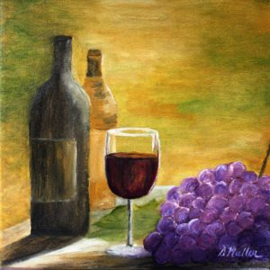 Wine, glass, grapes, table