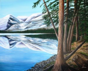 BC, British Columbia, lake, mountain, Rocky Mountains, trees, landscape, painting, Donna Muller