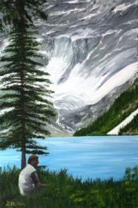 glaciers, glacier lake, tree, water, lake, BC, British Columbia, painting