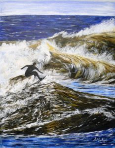 surfing, Lawrence Town, ocean, waves, painting