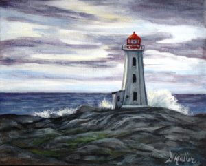 Peggy's Cove, lighthouse, evening light, wave, rock