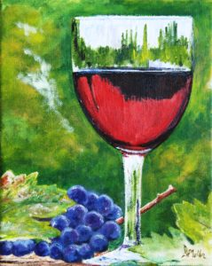 wine, glass, grapes, painting