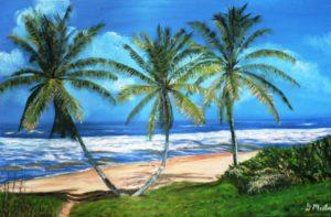 palm trees, beach, Barbados, waves, ocean