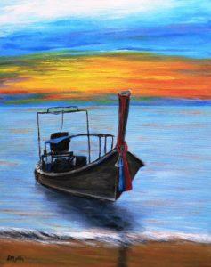 thailand, ocean, boat, beach, sunset