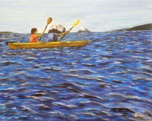 Kayaking, ocean, gull rocks