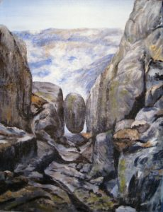 Norway, painting, landscape, hiking, rock